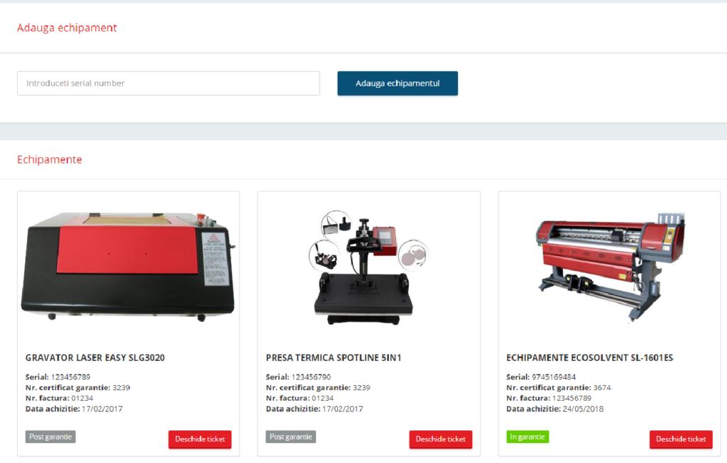 Lista de echipamente achizitionate